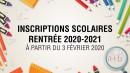Inscriptions scolaire 2020-2021